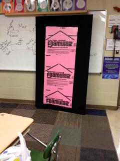 use insulation foam to create bulletin boards on blank walls