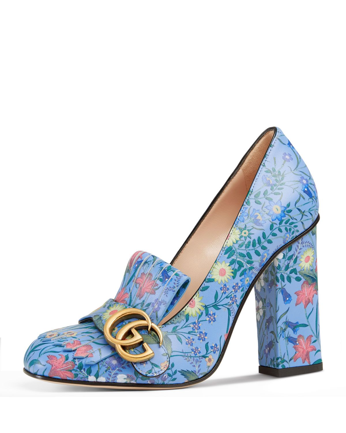 f75a4f0e3670a Marmont New Floral Loafer Pump Blue Pattern in 2019 | shoes Gucci ...