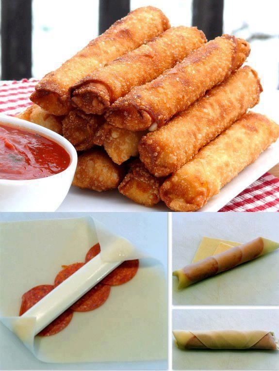 FRIED MOZZARELLA PEPPERONI EGG ROLLS!!! (Thank you, Candice Harper)  12 pieces of string cheese  12 egg roll wrappers  36 slices of pepperoni  Oil for deep-frying  Marinara or pizza sauce    Wrap rolls as shown.  In a skillet, heat oil to 375 degrees F. Fry sticks, a few at a time, for 30-60 seconds on each side until completely brown. Drain on paper towels. Serve with sauce.
