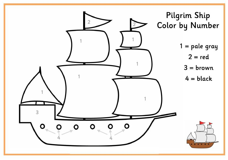 Color By Number Pilgrim Ship Thanksgiving Activities For Kids
