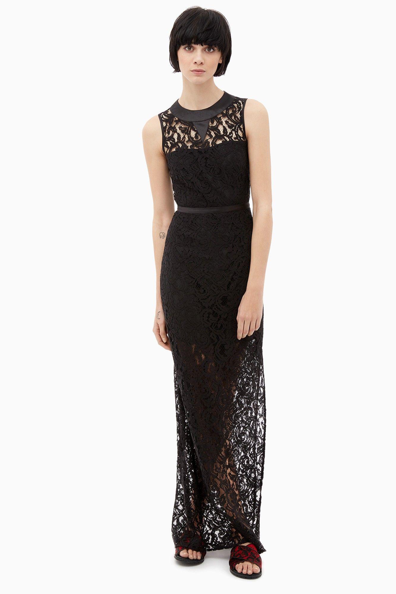Vestido largo de encaje negro colecci n adolfo for Vestidos largos adolfo dominguez outlet