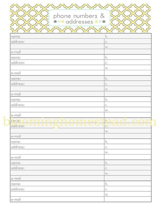 Contact Sheet {Phone Numbers \ Addresses} free printable Free - phone sheet template