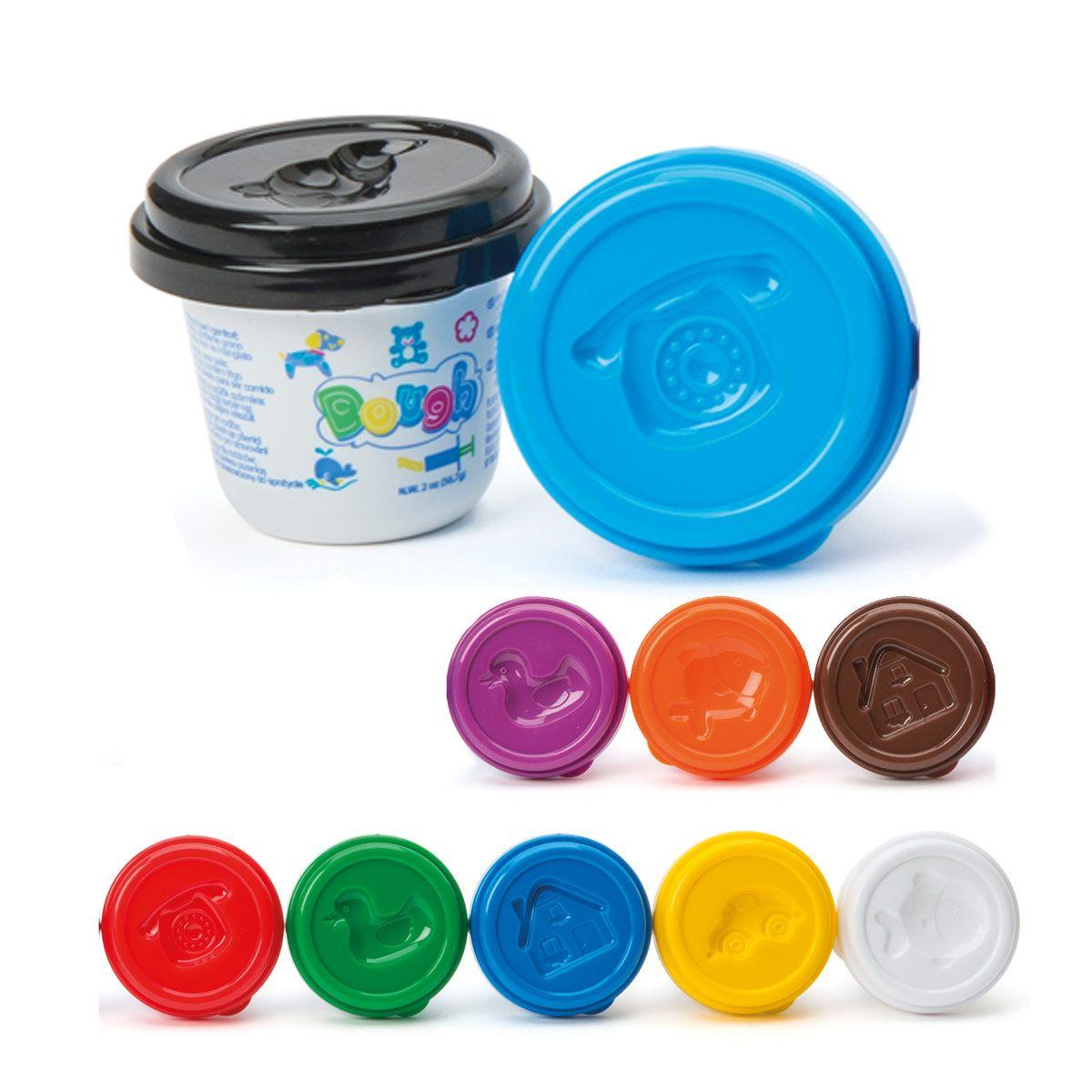 Voici 10 pots de pâte à modeler de différentes couleurs pour varier les créations. Ces pâtes à ...