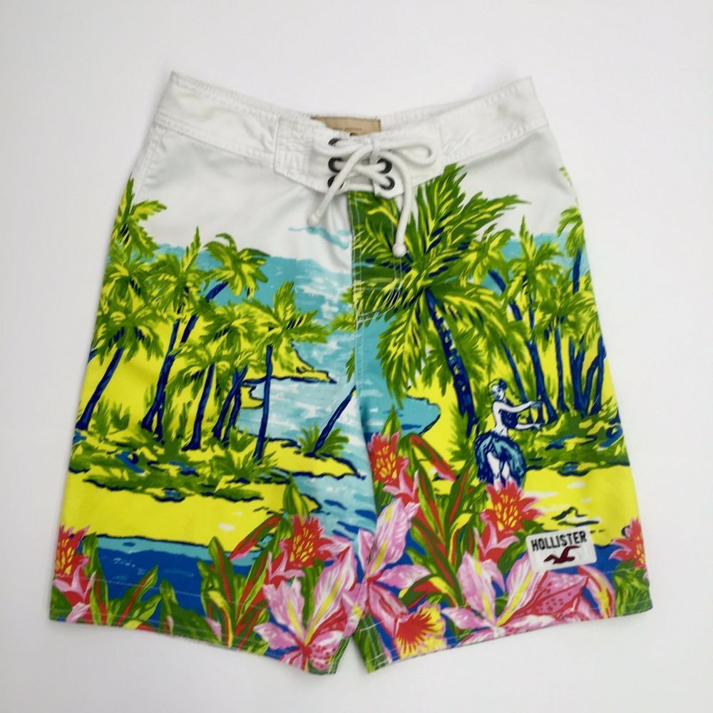c100b790c3 Hollister Board Shorts Hawaiian Hula Girl Tropical Swim Trunks Surfer Mens  XS #Hollister #BoardShorts