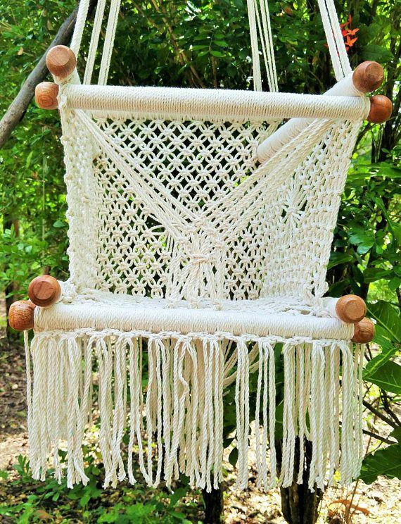 Baby hammock swing chair macrame free cushion included.Hanging baby chair. Baby chair swing ...