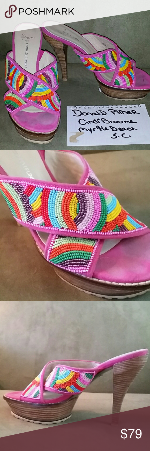 DONALD J. PLINER PINK HEEL SANDLE Great shape.  Worn 3 times.  Fully beaded on top. Donald J. Pliner Shoes Heels