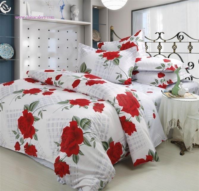Red Flower Bedding Set Comforter Duvet Covers Bed Sheet Bedclothe Pia