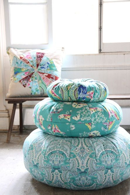 Amy Butler Alchemy Flora Fountain On Largest Pouf Girl Space Extraordinary Amy Butler Pouf Ottoman