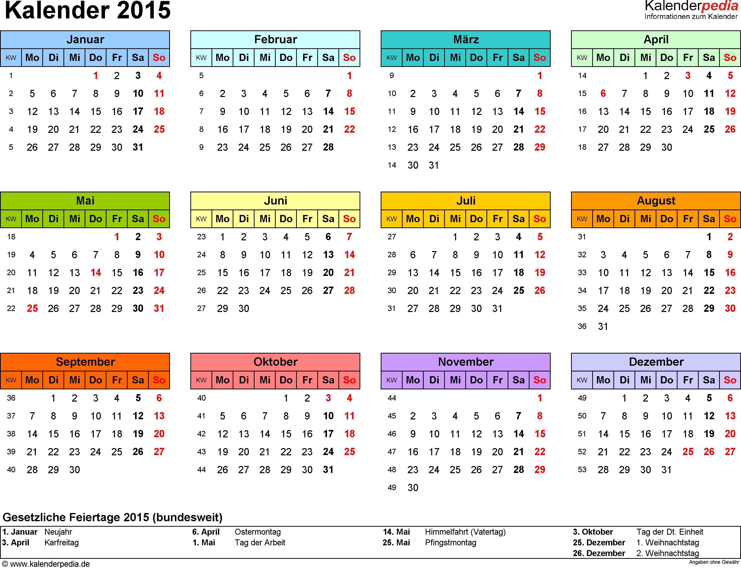 Kalender 2015 - free download - für Word, Excel und PDF ...