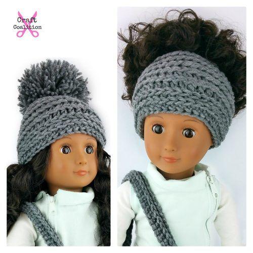 My Dolly Edgy Messy Bun Hat 2-in-1 18 inch doll crochet pattern ...