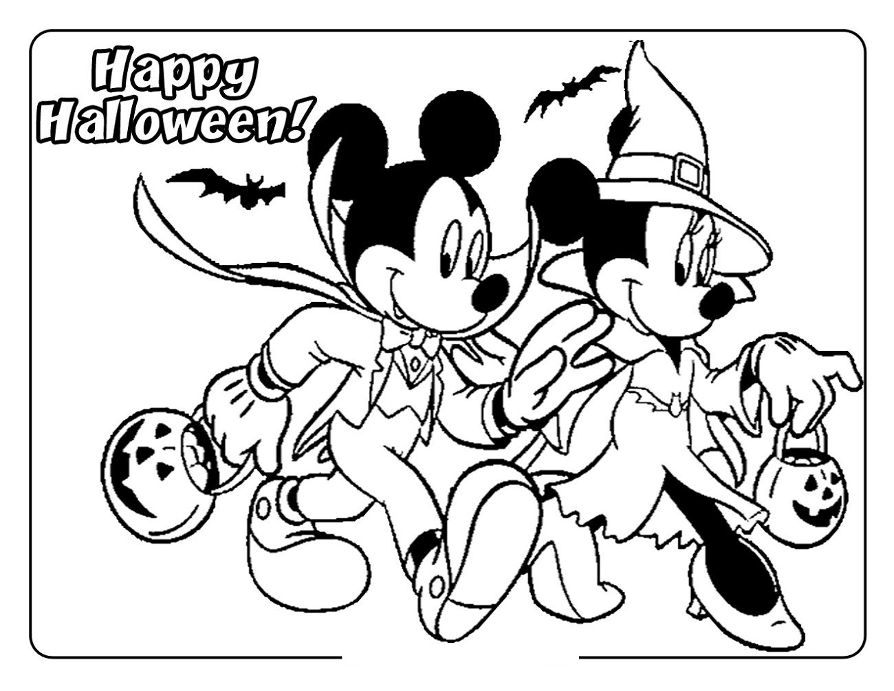 Happy Halloween Disney Coloring Page For Kids Pluto Is Afraid Of The Bats Maybe I Tinkerbell Coloring Pages Disney Coloring Pages Mickey Mouse Coloring Pages