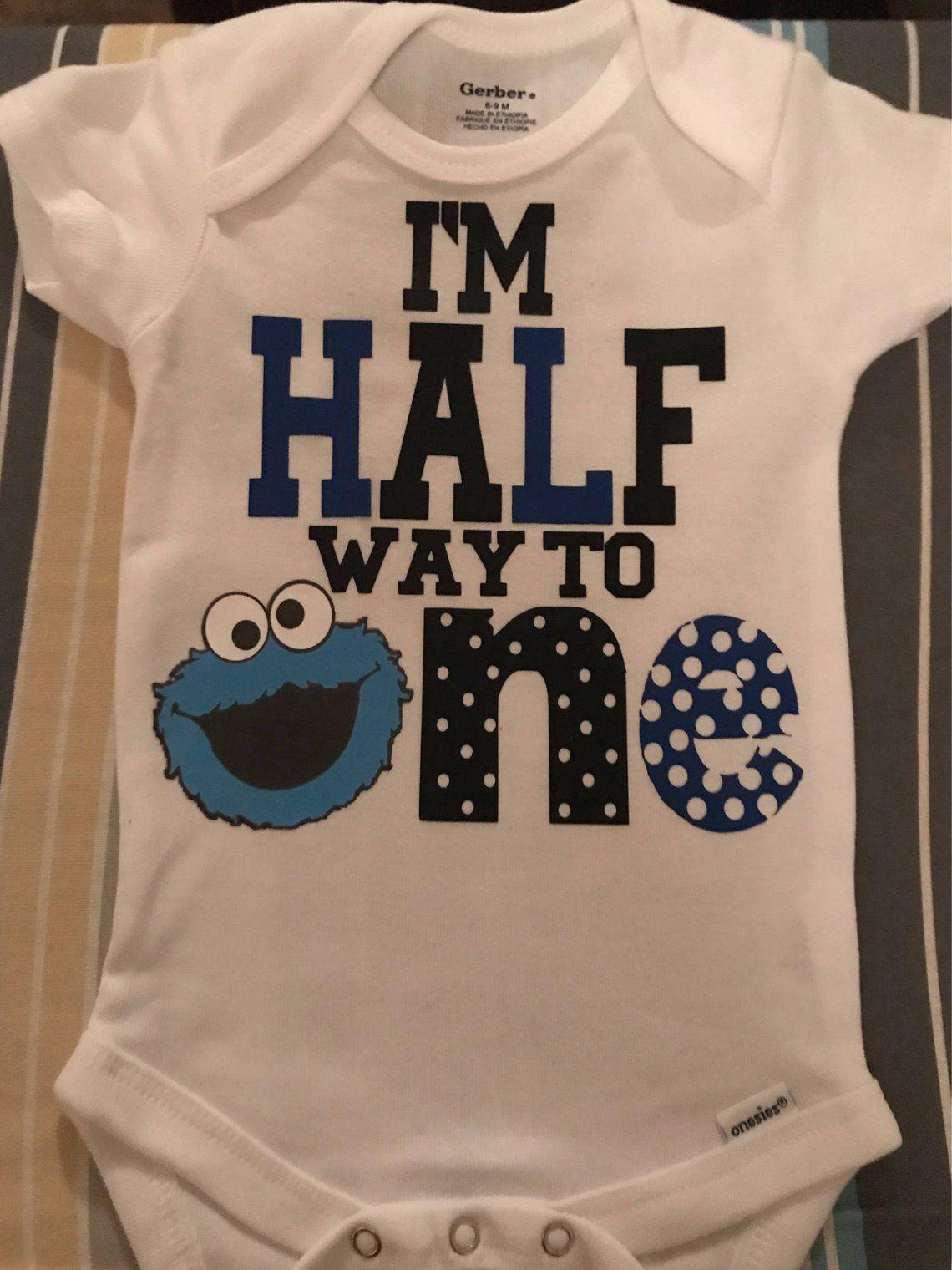 Handmade Boys Sesame Street Cookie Moster Elmo Blue First Birthday Bodysuit
