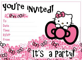 Hello Kitty Coloring Pages Hello Kitty Birthday Invitations Hello Kitty Invitations Hello Kitty Invitation Card