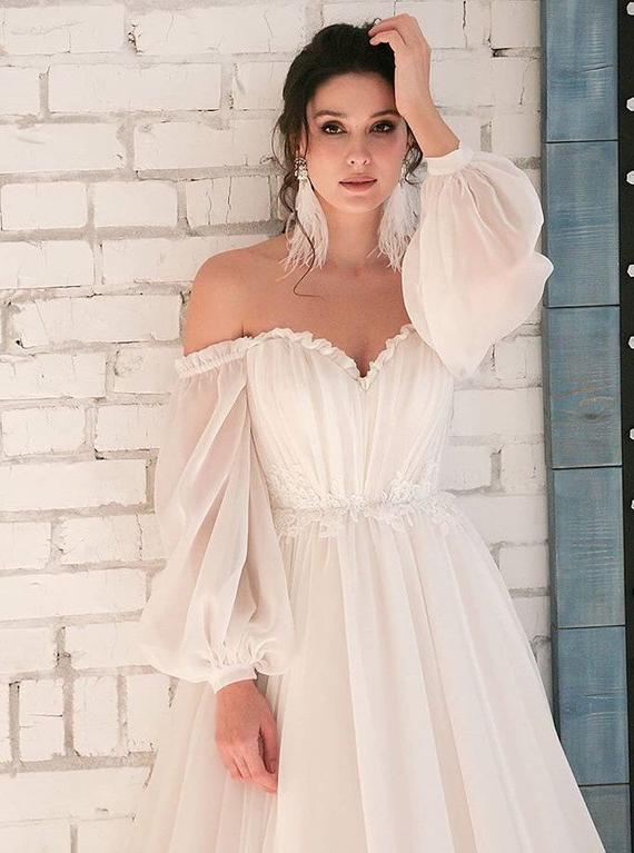 3d lace flower boho wedding dress long sleeve modern ivory blush belt wedding gown bride lace tulle bohemian unique train light crystal sexy 2
