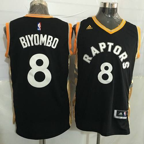 cc3c34342 ... where to buy mens toronto raptors 8 bismack biyombo black with gold new  nba rev 30 ...