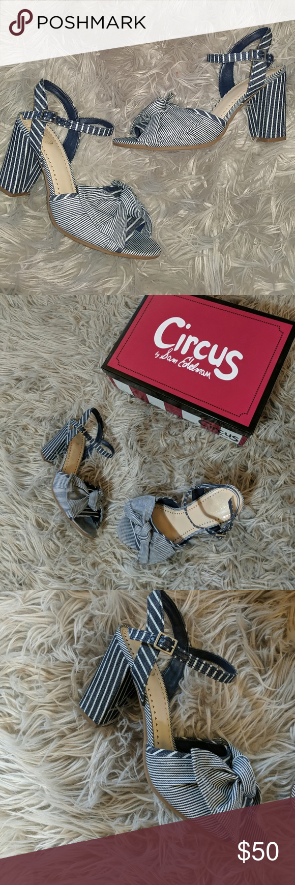 b4757adce Circus by Sam Edelman EVA navy   white sandal! The Eva. How darling and so  versatile for fall to spice up any outfit! Size 7 1 2 striped sandals from  Circus ...