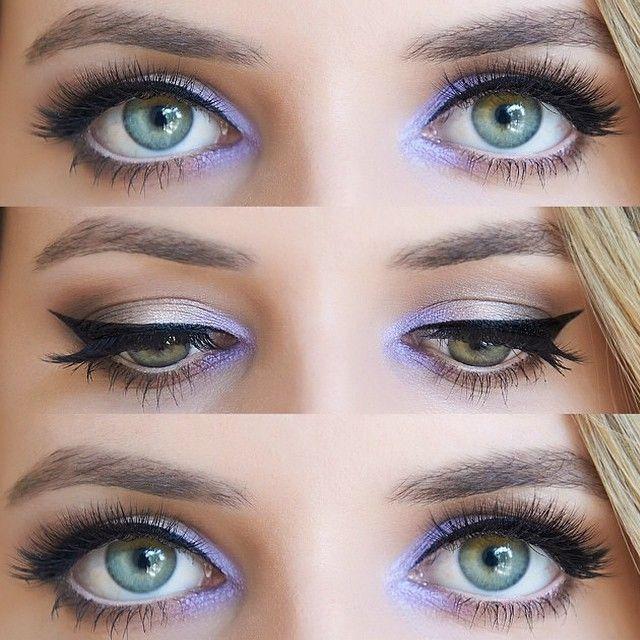 Amei esse esfumado com detalhe lilás no canto interno dos olhos, lápis nude na linha d'água e delineado PERFEITO ✔️. #inspiracaodare por