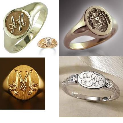 Signet rings should be heirloom quality and can have the family initials or crest.