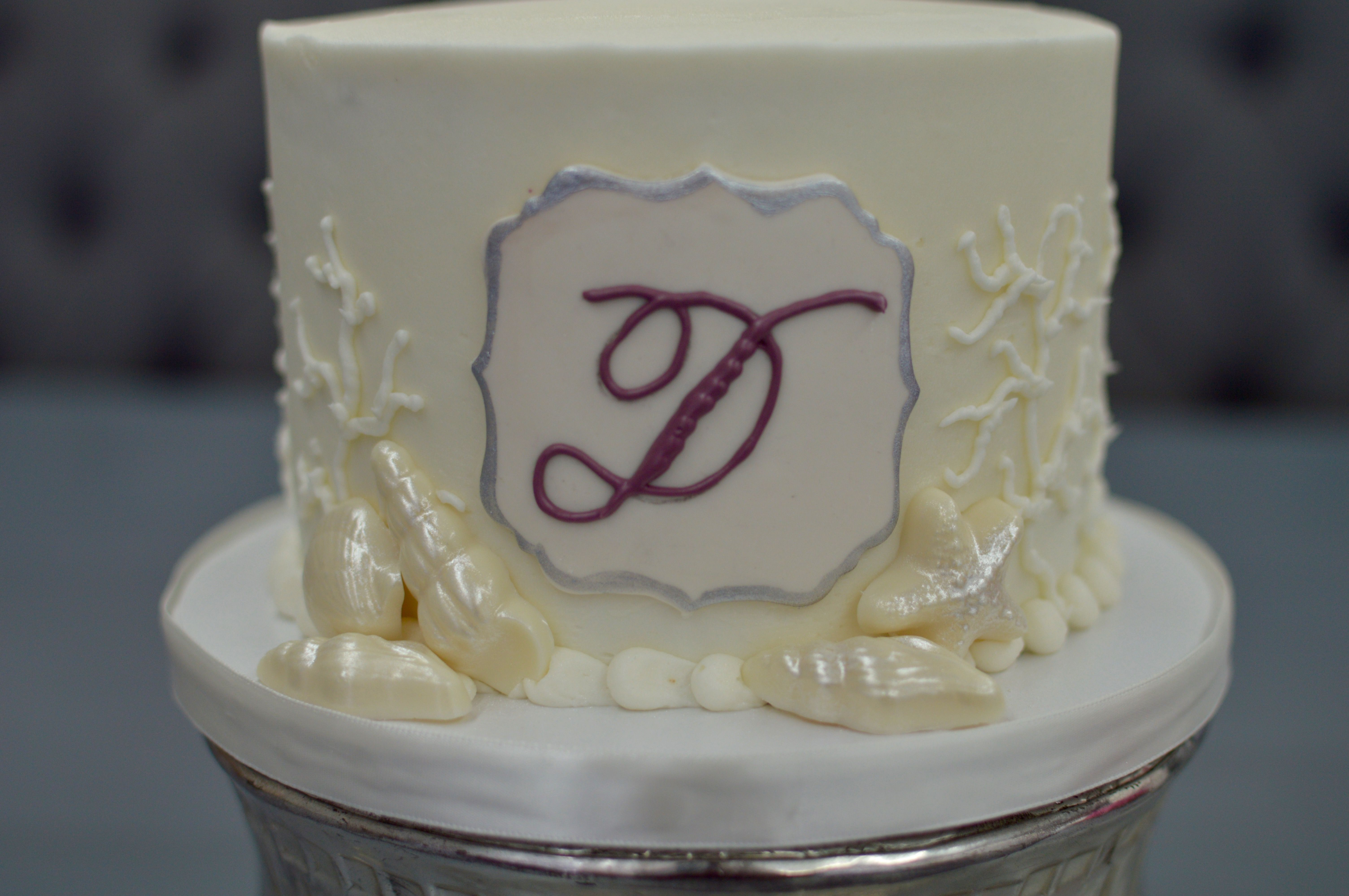 Monogram Buttercream Wedding Cake Made By Chef Aura Fuenmayor