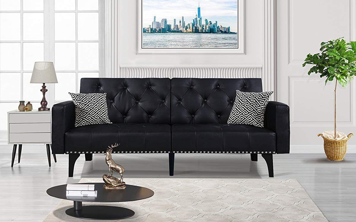 Tremendous Modern Tufted Bonded Leather Sleeper Futon Sofa With Evergreenethics Interior Chair Design Evergreenethicsorg