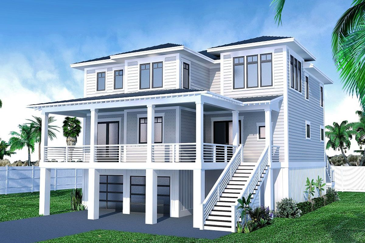 Plan 15251nc Contemporary Coastal House Plan With Private Master Suite Porch In 2020 Coastal House Plans Beach House Exterior Beach House Plans