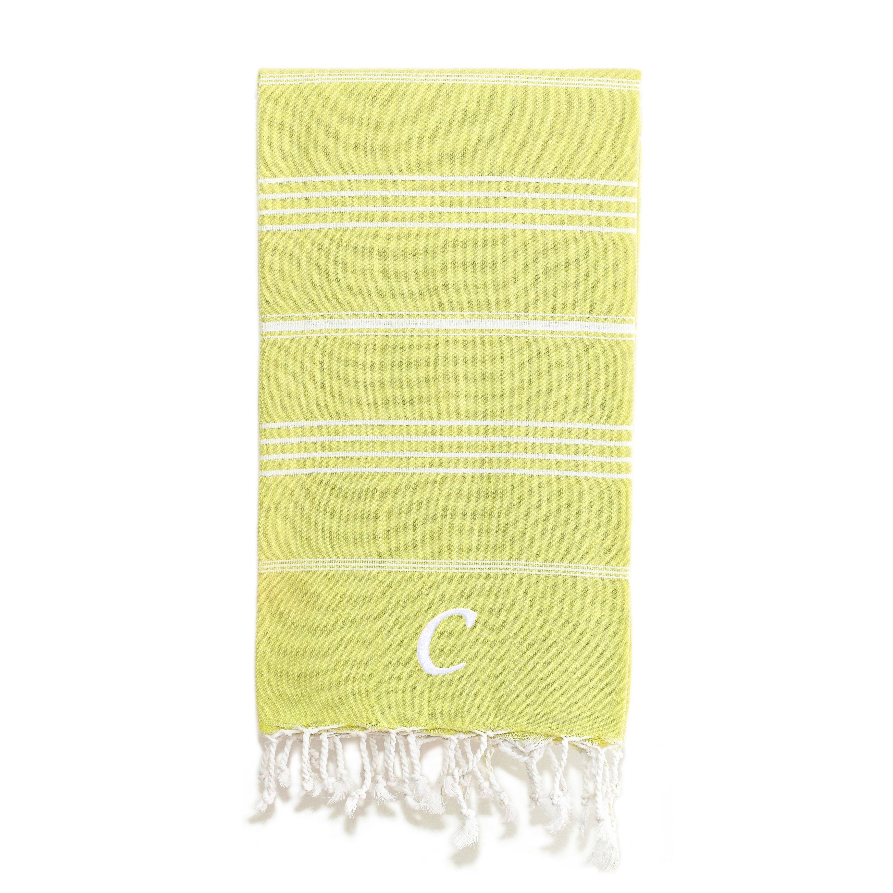 Authentic Pestemal Fouta Original Lime Green And White Striped Turkish Cotton Bath Beach Towel With Monogram Initial Lime Green White E Turkish Cotton Towels Monogram Initials Beach Towel