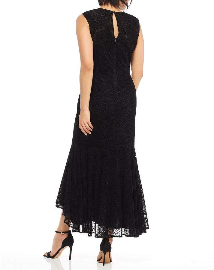 762a827c Maggy London Flounce Chantilly Velvet Lace Sheath Midi Dress  #Flounce#Chantilly#Maggy