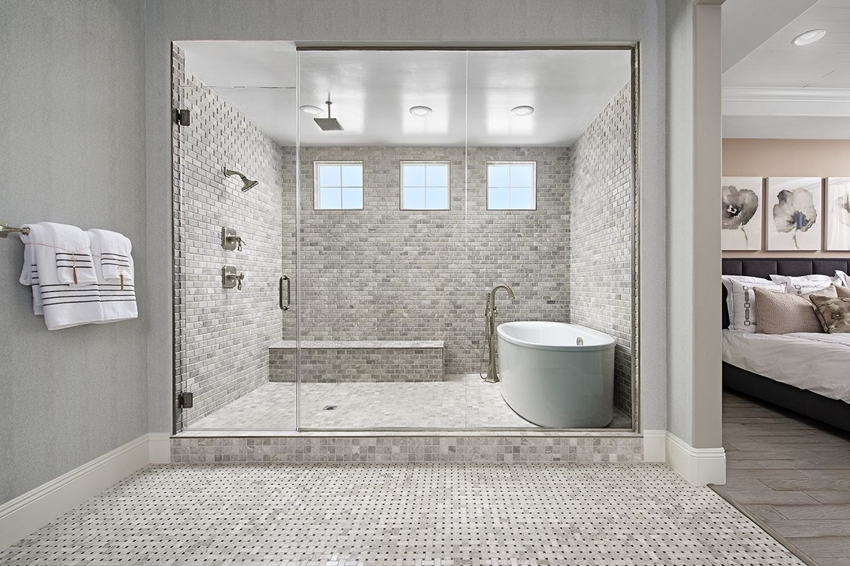 Attractive Tile Soaking Tub In A Glass Enclosed Shower Rocco