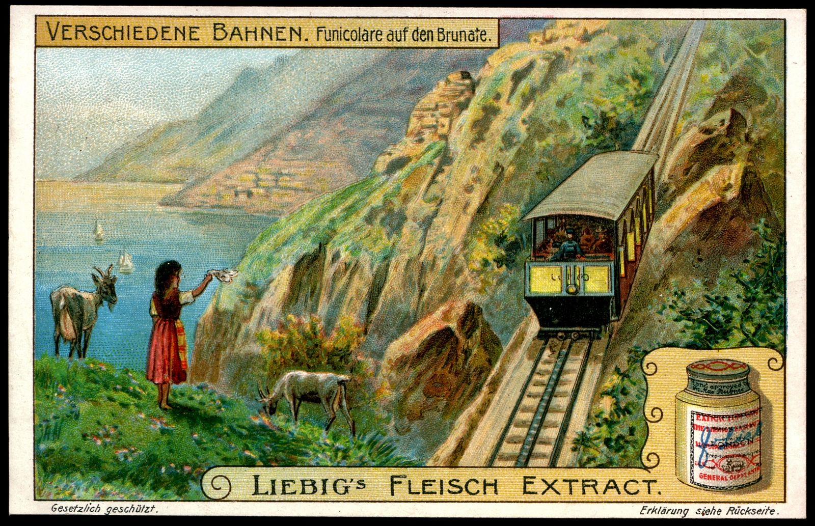 "Brunate Funicular Railway  Liebig's Beef Extract ""Different Railway Systems"" German issue, 1909. Brunate Funicular Railway, Italy (1894)"