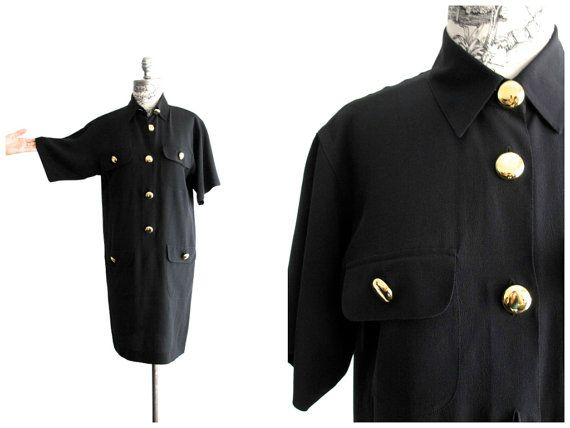 Vintage Black Silk with Large Gold Buttons Shirt Dress at sweetasvintage