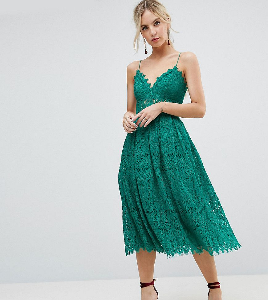 ASOS PETITE Lace Cami Midi Prom Dress - Green | Products ...