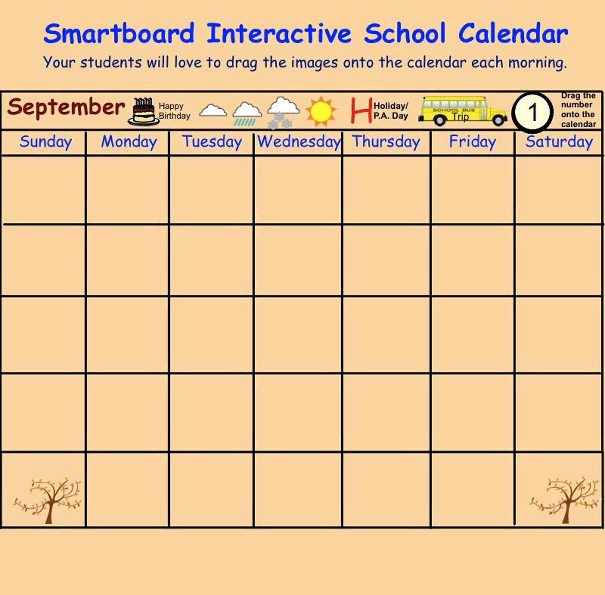 Smartboard Interactive School Calendar Sept June