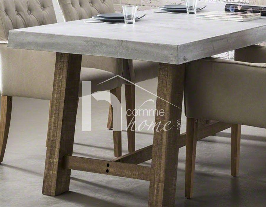 Table à Manger Industrielle En Béton Et Bois RACINE Table Salle - Table salle a manger beton cire pour idees de deco de cuisine