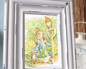 Beatrix Potter -Peter Rabbit, Benjamin Bunny, Children Illustration, Baby shower, Bridal shower, Birthday, Nursery, Digital Downloadable. $2.50, via Etsy.