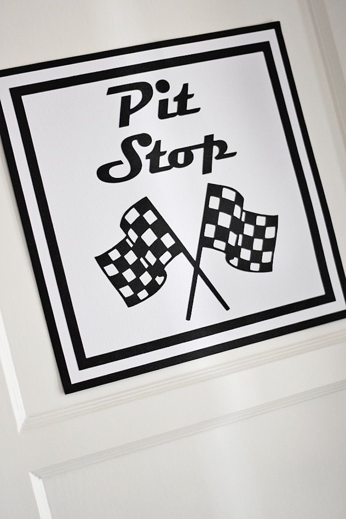 Printed pit stop party sign from a Race Car Birthday Party on Karas ...
