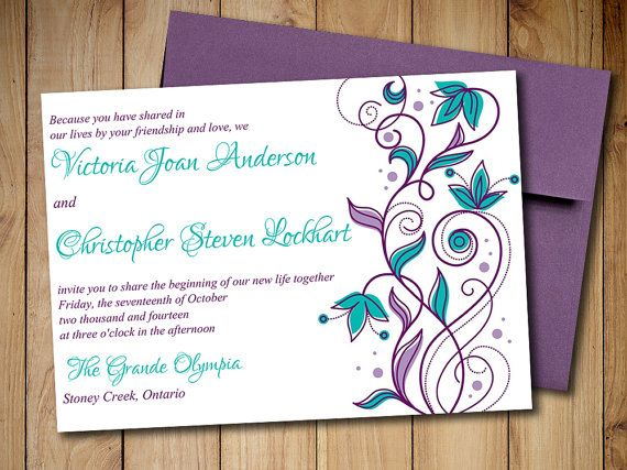 Printable Wedding Invitation Template Download - Peacock Wedding - download invitation card