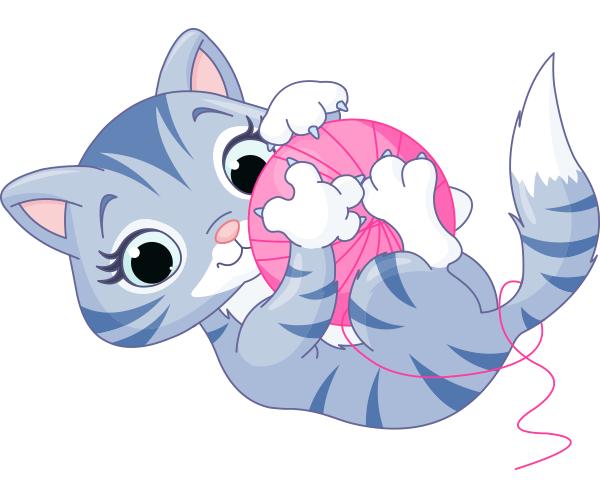 Cuddly Yarn Kitten Kitten Cartoon Kitten Kittens Playing