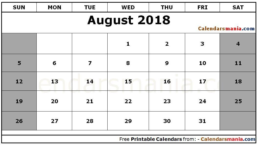 August 2018 Calendar Template August 2018 Calendar Pinterest