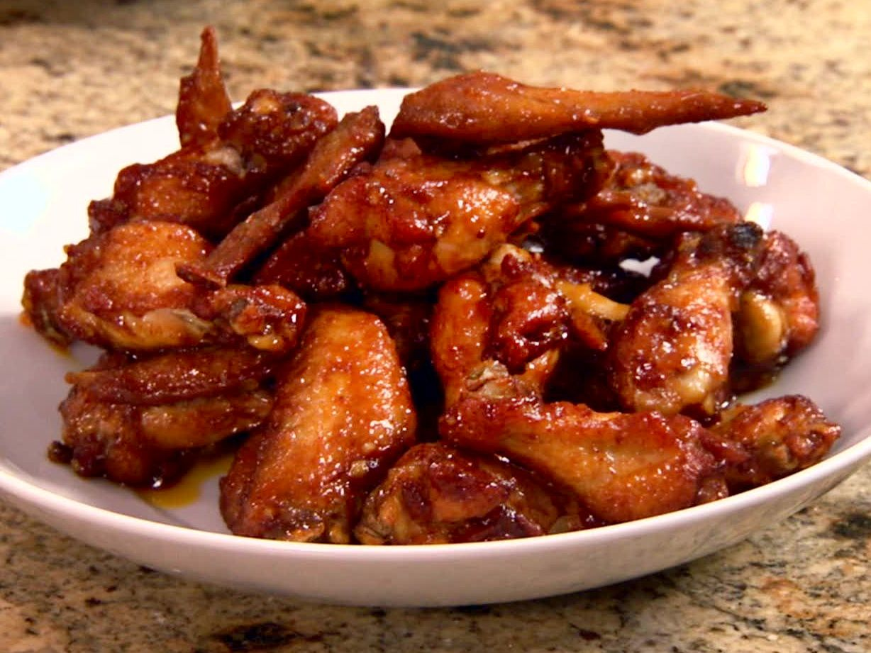 Pat's Spicy Peach Hot Wings recipe from Patrick and Gina Neely via Food Network