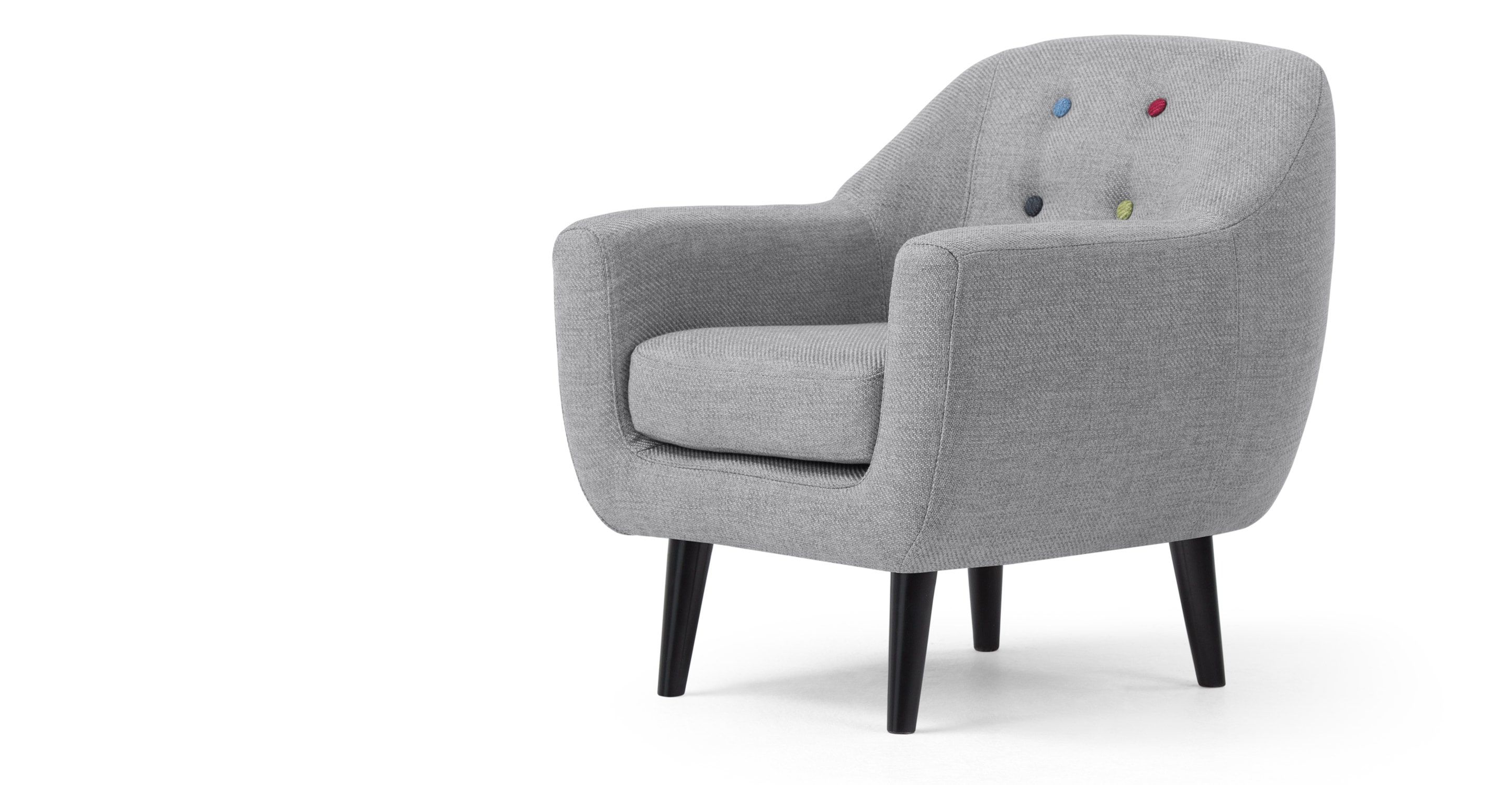 Mini Ritchie Armchair, Pearl Grey With Rainbow Buttons