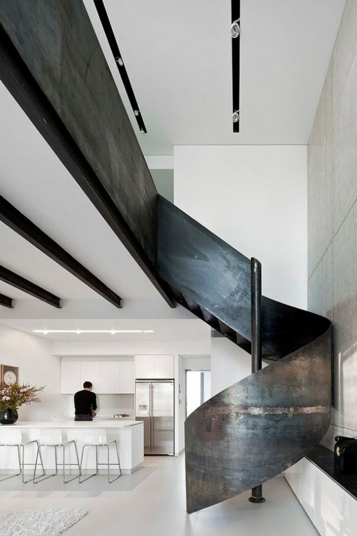 escalera de caracol negra preciosa para la casa moderna
