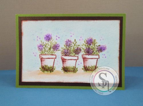 Colored with Spectrum Aqua watercolor markers Pots – Sepia Leaves – Moss Flowers – Wildflower Sky – Teal Ground – Desert Flower pot stamp, leaf stamp, flower stamp and dots stamp from Stamps By Judith and Heather
