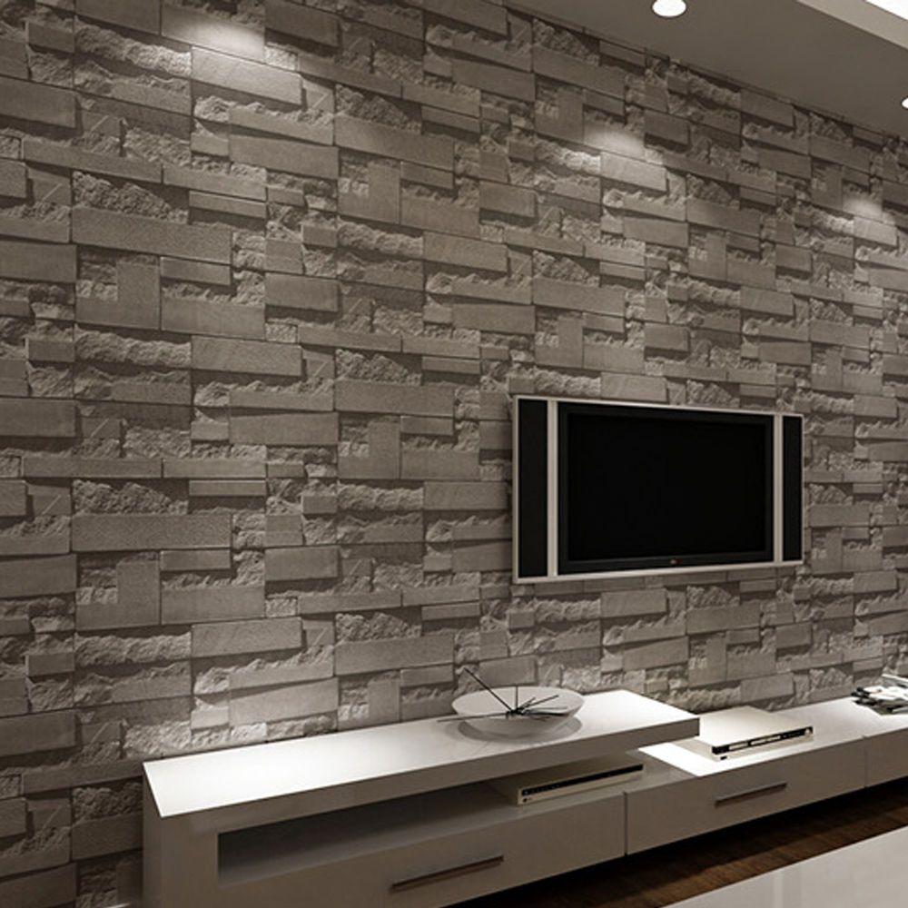 10m Modern Black Grey 3D Print Effect Stone Brick ...