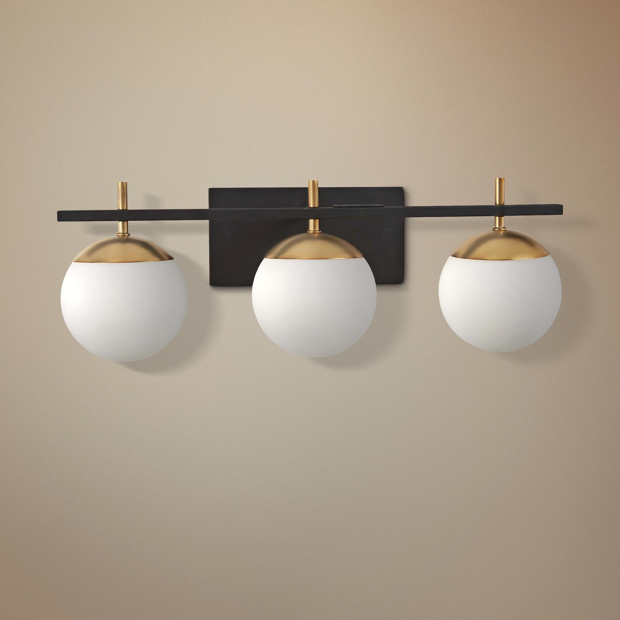 George Kovacs Alluria 24 Inchw Black And Gold 3 Light Bath Light