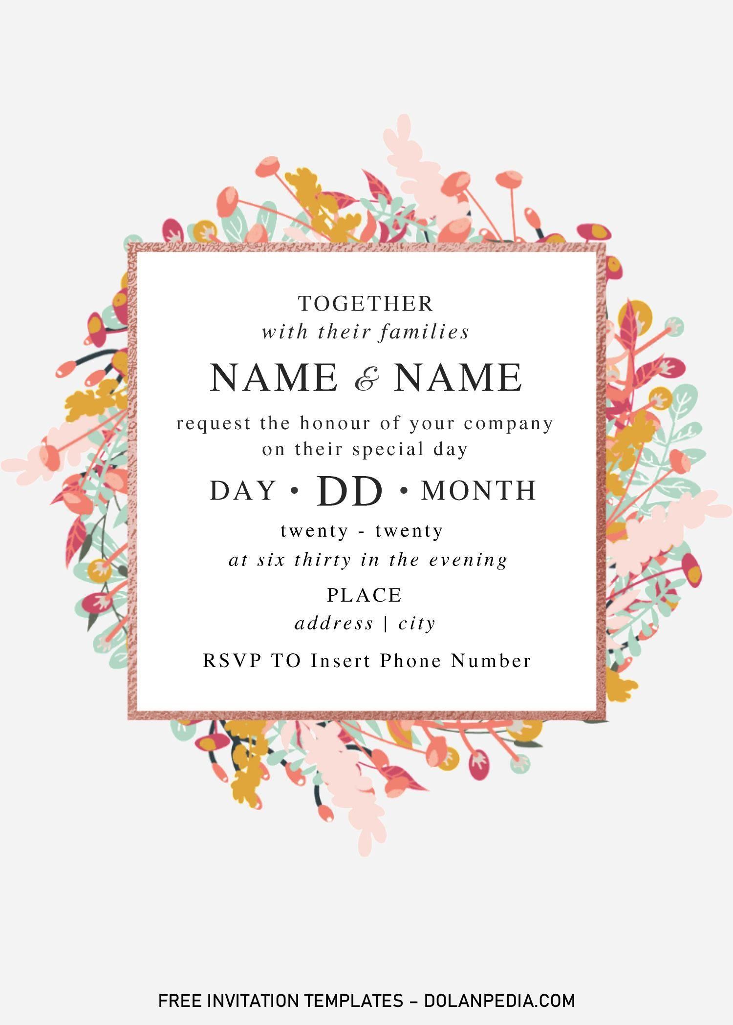 Festive Floral Wedding Invitation Templates Editable With Microsoft Word Invitation Template Wedding Invitation Templates Floral Wedding Invitations Microsoft word invitation template free