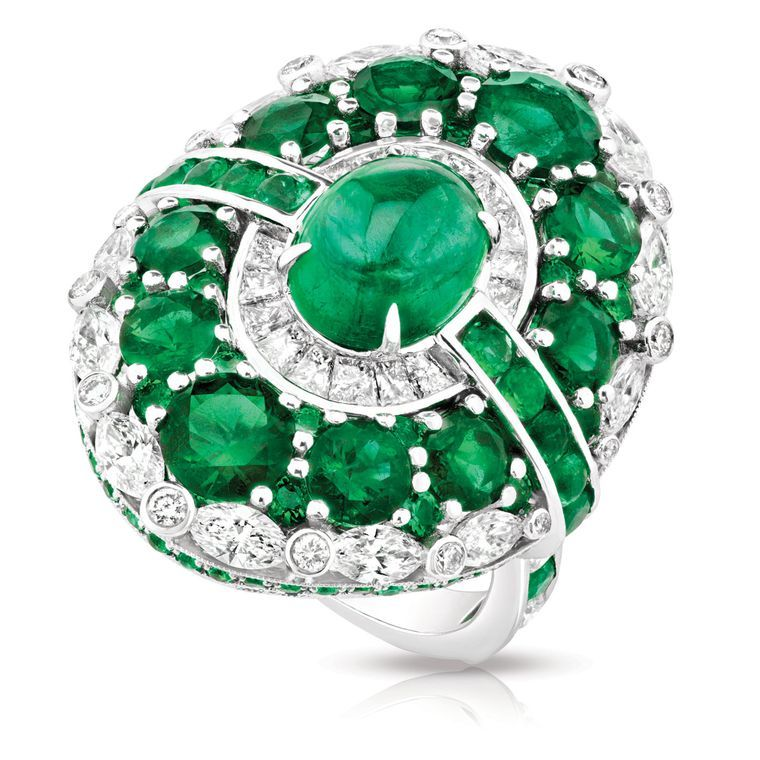@faberge Aurora ring with a cabochon #emerald surrounded by diamonds and further emeralds, set in white gold (£40,720).