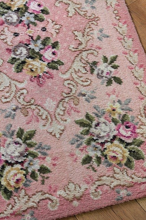 Pink Rug Source Organizationally Impaired Floral Rug