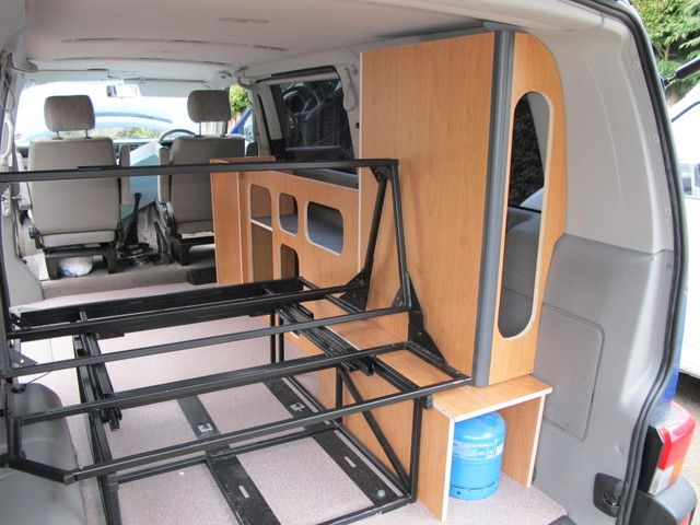 Like This Layout But Whole Side Cabinet Would Be On Store For Windsurf Board Its Campervan InteriorCampervan IdeasCampervan BedConversion VanCamper