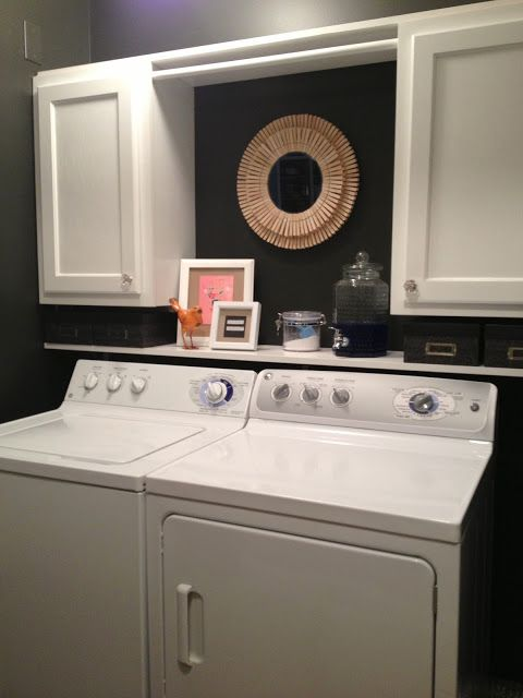 Shelf Just Above Washer And Dryer Clothes Rod Above Side Cabinets Laundry Room Makeover Room Makeover Laundry Room Decor