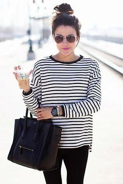 T-shirt a righe e leggins Anyou! Un'idea perfetta per questa Primavera #shirt #righe #leggins #fashion #spring www.anyou.it